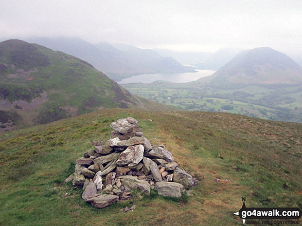 Darling Fell summit cairn. Walk route map c275 Darling Fell, Low Fell and Fellbarrow from Loweswater photo