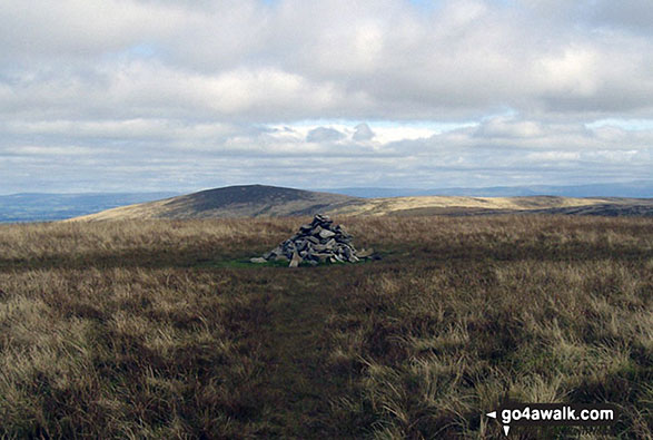 The cairn on the summit of Great Sca Fell