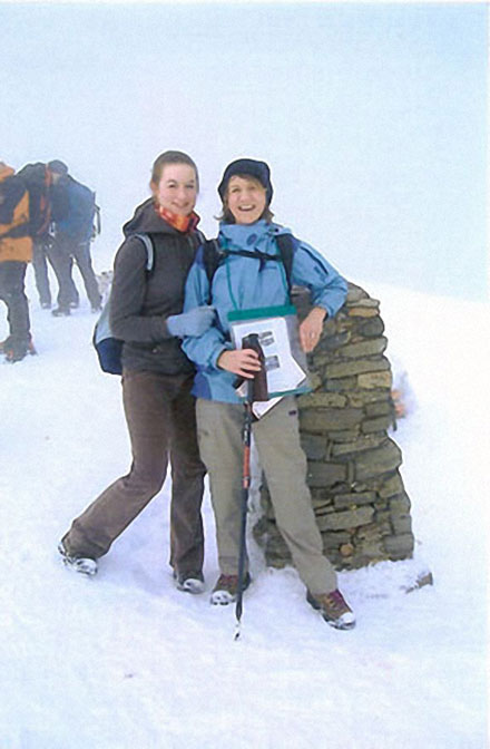 On the summit of Helvellyn in the snow