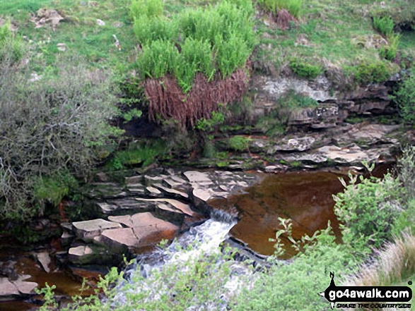 Whitsundale Beck Waterfalls. Walk route map c404 Nine Standards Rigg and Whitsundale Beck from Tailbridge Neck photo
