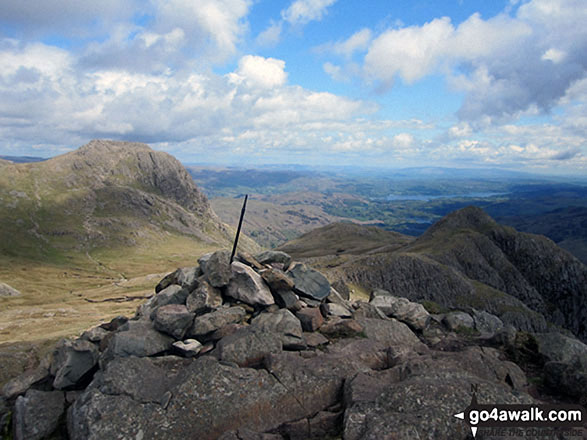 Harrison Stickle summit cairn complete with post