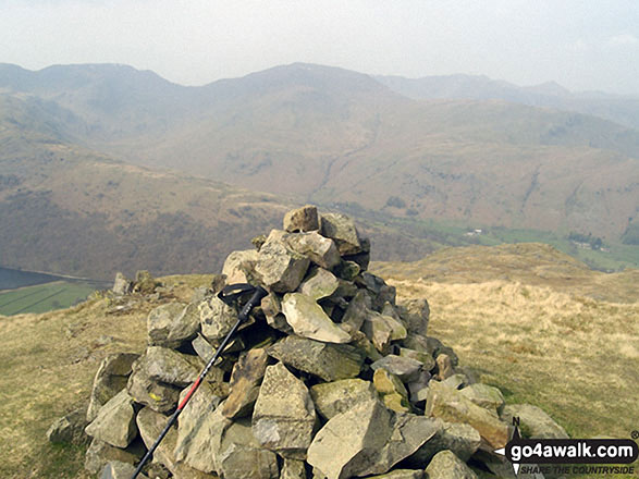 The summit cairn on Brock Crags. Walk route map c249 The Knott and Angletarn Pikes from Patterdale photo