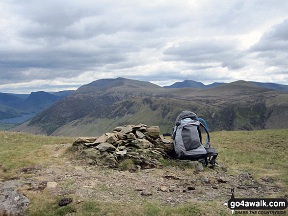 Hen Comb summit cairn . . .. Walk route map c212 Burnbank Fell, Gavel Fell, Hen Comb and Mellbreak from Loweswater photo