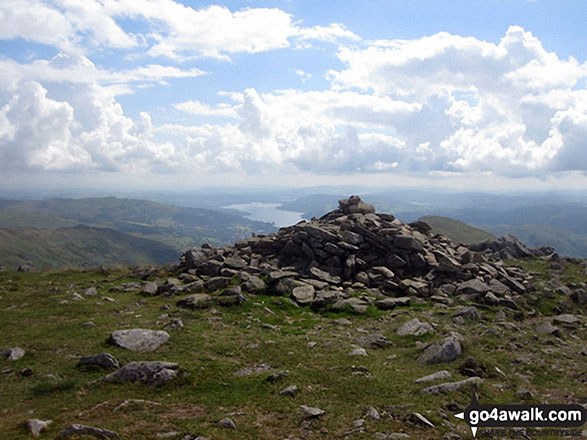 The summit cairn on Fairfield with Windermere in the distance. Walk route map c230 The Scandale Beck Horizon from Ambleside photo