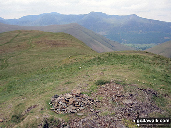 The summit cairn on Knott Rigg. Walk route map c345 Knott Rigg and Ard Crags from Little Town photo