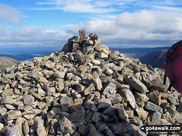 The summit cairn on Dollywaggon Pike. Walk route map c220 Helvellyn via Striding Edge from Glenridding photo