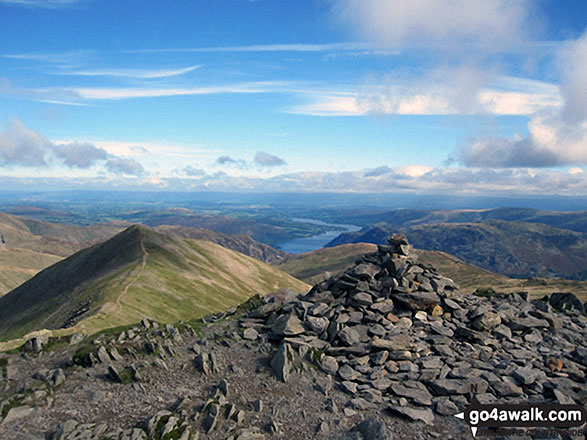 Catstye Cam and Ullswater from Helvellyn. Walk route map c220 Helvellyn via Striding Edge from Glenridding photo