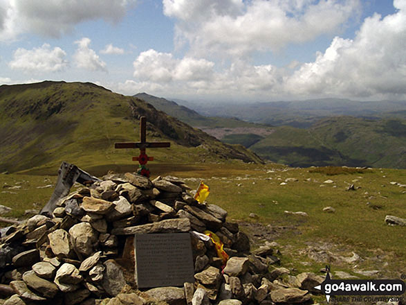 The cairn and plane crash memorial on the summit of Great Carrs