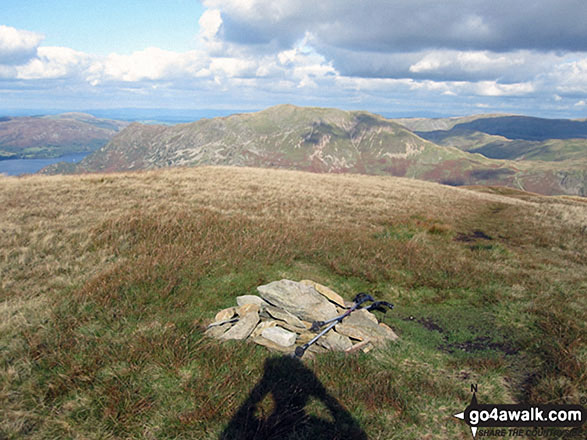 The flat cairn on the summit of Birks