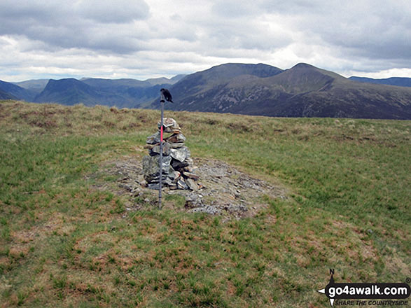 Mellbreak Summit cairn. Walk route map c212 Burnbank Fell, Gavel Fell, Hen Comb and Mellbreak from Loweswater photo