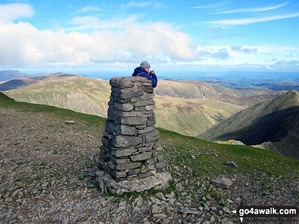 The Trig Point on the summit of Helvellyn. Walk route map c192 Helvellyn Ridge from Glenridding photo