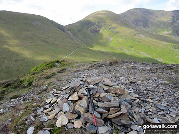 Scar Crags (left), Sail and Crag Hill (Eel Crag) from the summit cairn on Outerside. Walk route map c408 Grisedale Pike and Causey Pike from Braithwaite photo