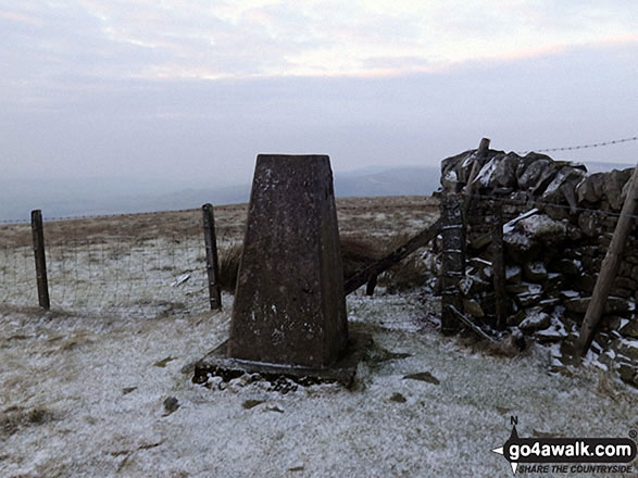 Renwick Fell (Thack Moor) summit Trig Point under a light dusting of snow