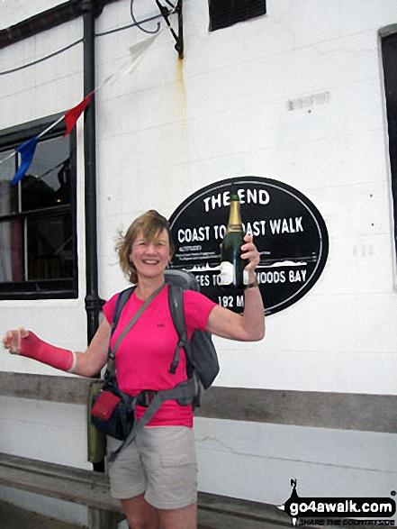 Celebrating at Robin Hood's Bay - the end of Wainwright's Coast to Coast Walk Walking Wainwright's Coast to Coast Walk 2011