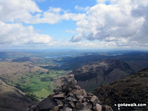Great Langdale, Lingmoor Fell and Lake Windermere from the summit of Harrison Stickle