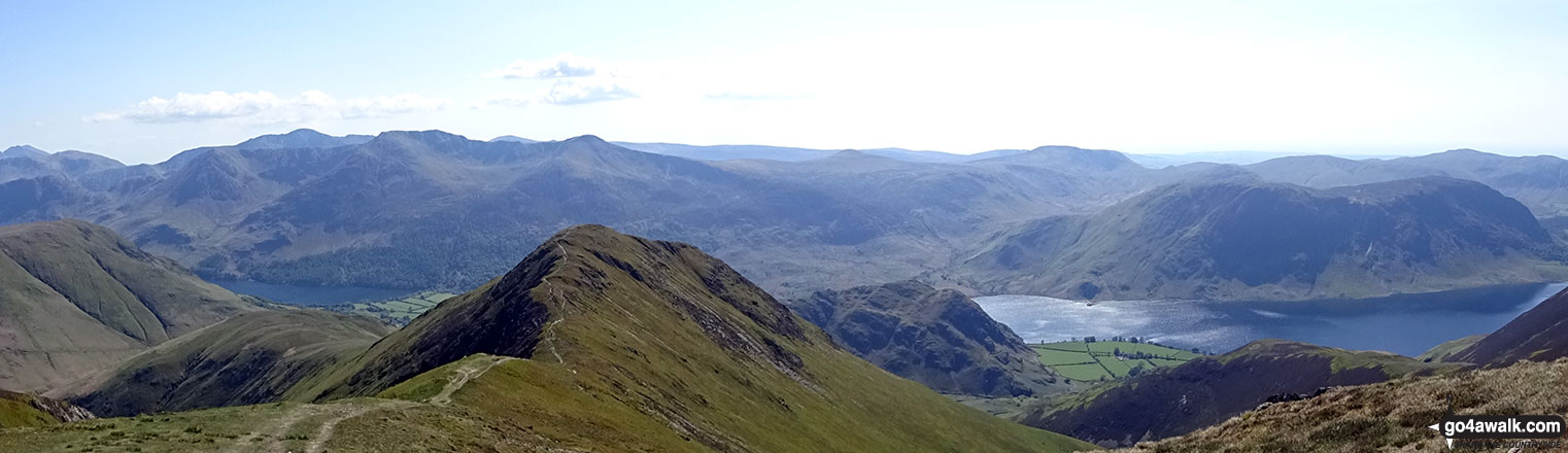 Looking down over Whiteless Pike and Rannerdale Knotts to Crummock Water from Wandope