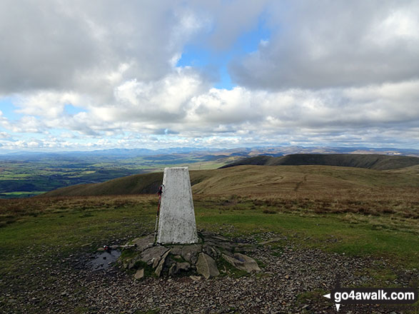 The trig point on the summit of The Calf