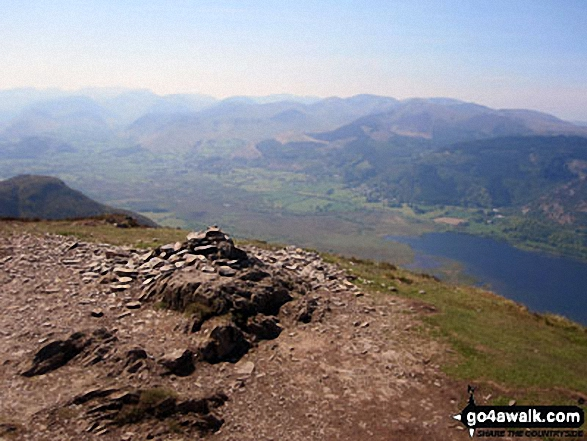 The Newlands Fells and Bassenthwaite Lake from Ullock Pike summit cairn