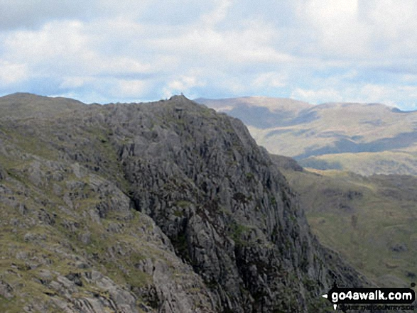 Jack's Rake and Pavey Ark from Harrison Stickle In this picture Jack's Rake climbs steeply up the crags from bottom right to top left