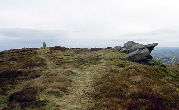 Skipton Moor summit and trig point