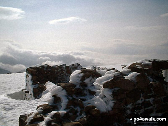 Ben Nevis summit under a blanket of snow. Walk route map h137 Ben Nevis and Carn Mor Dearg from Achintee, Fort William photo