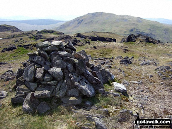 Arenig Fawr (South Top) summit cairn with Moel Llyfnant beyond