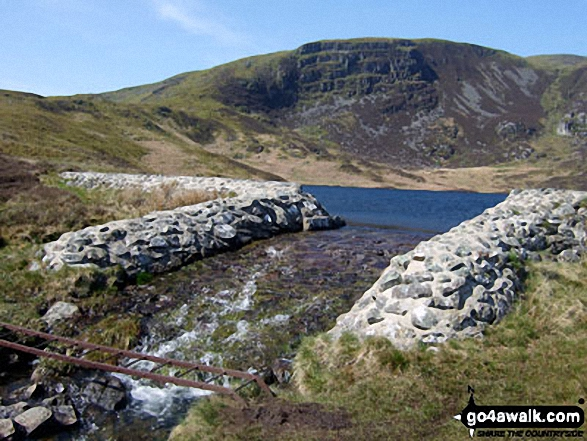 Llyn Arenig Fawr Dam outflow with Arenig Fawr itself in the background