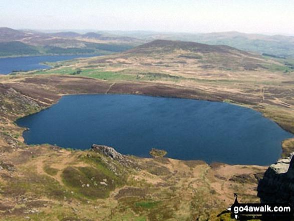 Llyn Arenig Fawr from the upper slopes of Arenig Fawr. Walk route map gw138 Arenig Fawr from Pont Rhyd-y-Fen photo