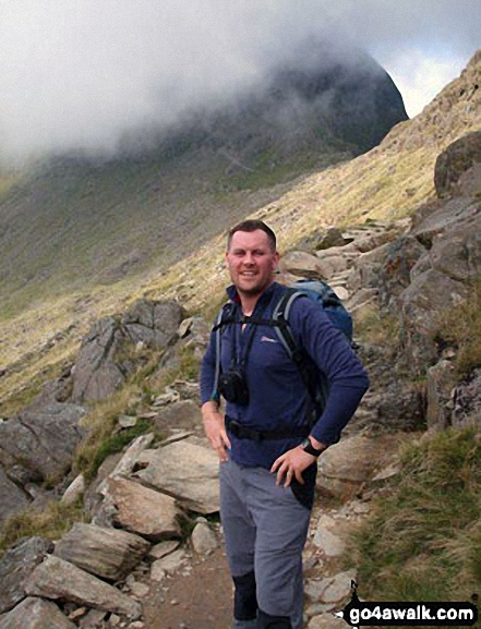Me on the Miners' Track up Snowdon. Walk route map gw100 Mount Snowdon (Yr Wyddfa) from Pen y Pass photo