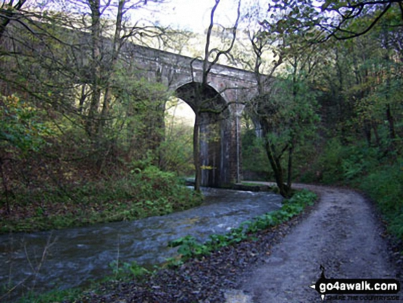 The Monsal Trail in Wye Dale. Walk route map d265 The Monsal Trail and Taddington from Wye Dale photo