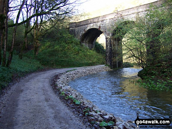 The Monsal Trail and the River Wye in Wye Dale