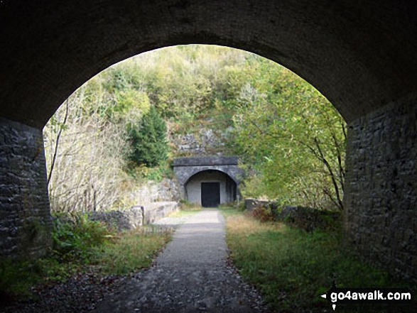 The Monsal Trail in Wye Dale where it emerges from one tunnel to reach a 2nd blocked one