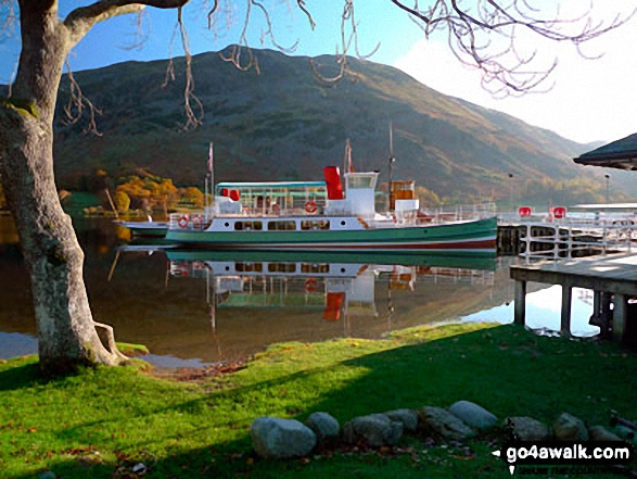 The Ullswater Water Steamer docked at Glenridding<br>with Place Fell in the background. Walk route map c192 Helvellyn Ridge from Glenridding photo