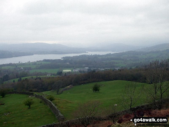 Looking North West to Windermere from a wet and rainy Orrest Head