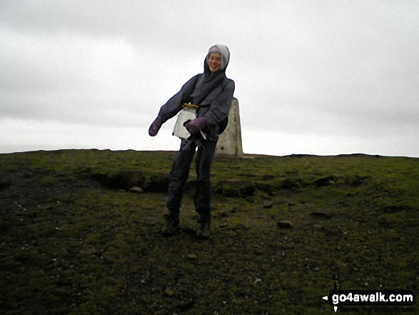 Me, very windswept, on Pendle Hill walk  Lancashire England walks