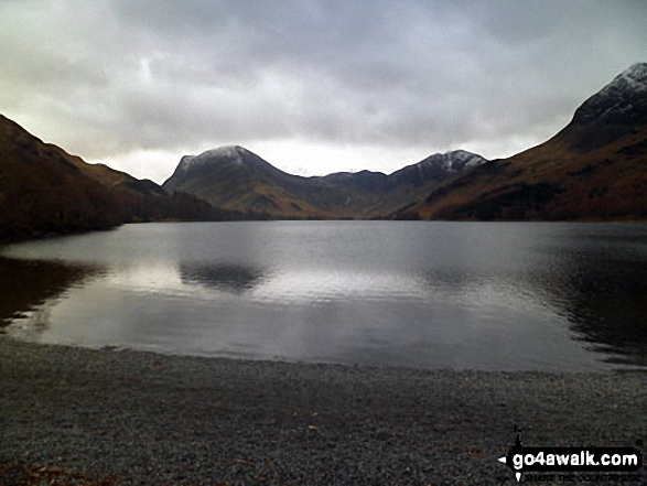 Fleetwith Pike (left), Hay Stacks (Haystacks) and the shoulder of High Crag (Buttermere) (right) across Buttermere