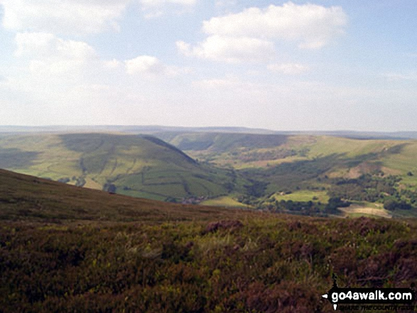 The view up the Alport Valley from Crookstone Knoll on the northern edge of the Kinder Plateau