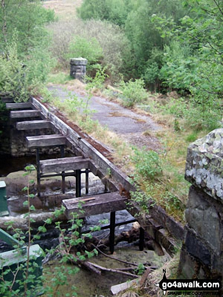 The old bridge over Afon Claerwen at the South East end of Dolymynach Reservoir