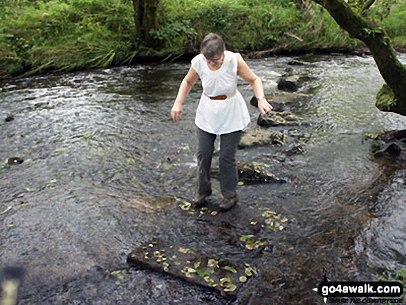 The Stepping Stones over River Loud. Walk route map l126  Longridge Fell (Spire Hill) from Jeffrey Hill photo