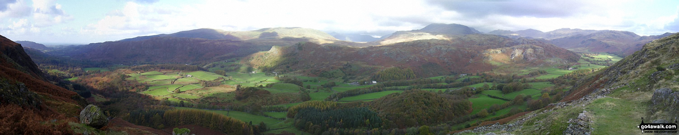 Eskdale from Birker Force (Waterfall) with Illgill Head (centre left) and Sca Fell (centre right) on the horizon