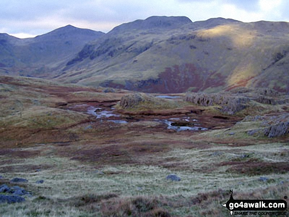 Bow Fell (Bowfell) and Crinkle Crags (Long Top) from Hard Knott