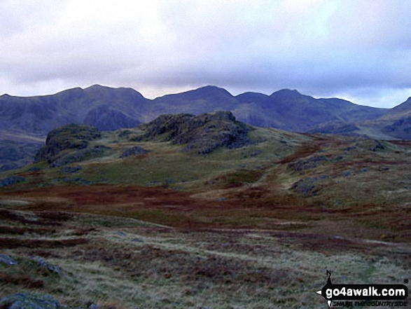 Slight Side and Sca Fell, Mickledore, Scafell Pike, Ill Crag, Great End and Esk Hause from Lingcove Bridge