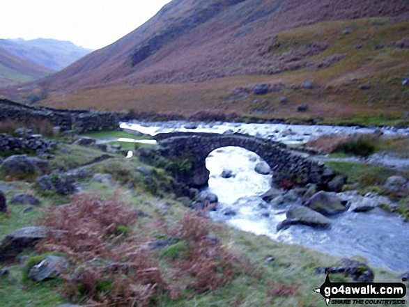 Lingcove Bridge. Walk route map c166 The Scafell Masiff from Wha House Farm, Eskdale photo