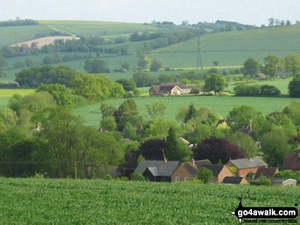 Wilton from Dodsdown Hill. Walk route map wi102 Wilton Windmill from Great Bedwyn photo