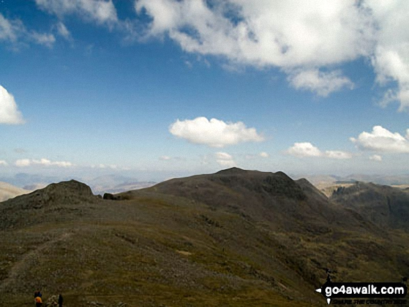 Symonds Knott and Sca Fell from Scafell Pike. Walk route map c370 Scafell Pike from Seathwaite photo