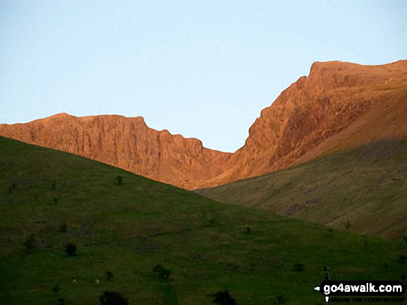 Scafell Pike, Mickledore and Sca Fell at sunset from Wasdale. Walk route map c141 Great Gable and Pillar from Wasdale Head, Wast Water photo