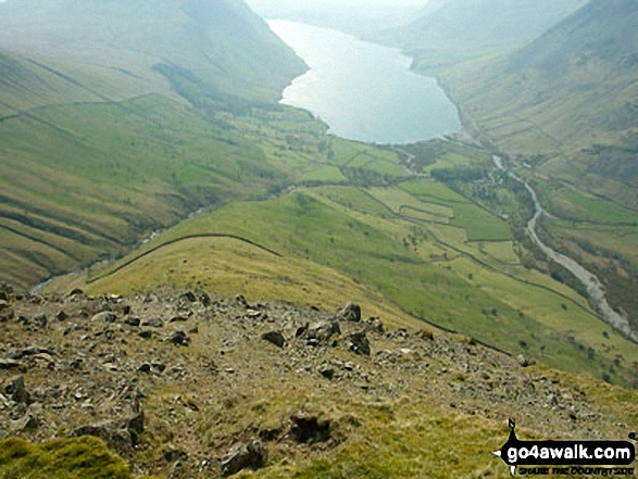 Wast Water and the Lingmell Ridge from Lingmell. Walk route map c197 Lingmell and Scafell Pike from Wasdale Head, Wast Water photo