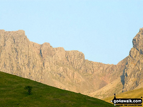 Mickledore at Sunset from Wasdale. Walk route map c101 Pillar and Little Scoat Fell from Wasdale Head, Wast Water photo