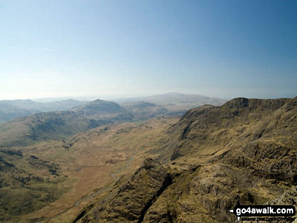 Harter Fell (Eskdale) (centre left), Cam Spout Crag and Slight Side (centre right) with Eskdale below from Ill Crag summit. Walk route map c194 Scafell Pike from The Old Dungeon Ghyll, Great Langdale photo