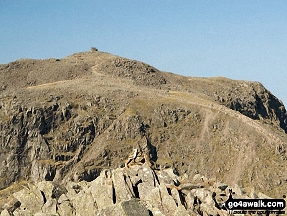 Scafell Pike summit from Ill Crag. Walk route map c110 The Eskdale Skyline from Wha House Farm, Eskdale photo
